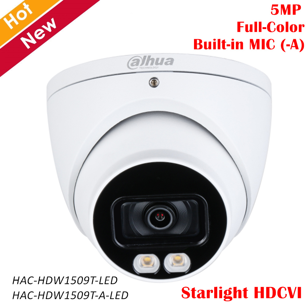Dahua 5MP Full Color Starlight Camera Built-in MIC (-A) 40m LED Distance 3.6mm Fixed Lens HDCVI Camera