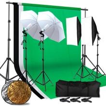 Lighting Kit Adjustable Max Size 2.6Mx3M Background 3 Color Backdrop Fabric Photo Studio Softbox Sets Continuous Umbrella Light цена в Москве и Питере