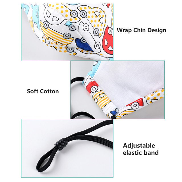 Children Mask Washable Respirator 8 Layer Safety Protection Cotton Activated Carbon Anti Flu Kids Face Mask Anti Dust PM2.5 4