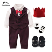 Newborn Baby Boys Gentleman Formal Suit Clothes Toddler Kids Baby Boy Tie Romper suits pant 5Pcs Clothing Sets Birthday dress