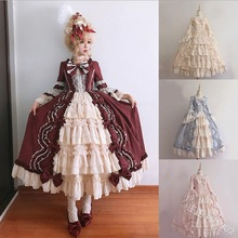Middeleeuwse paleis zoete lolita jurk vintage kant strik grote slinger victoriaanse jurk kawaii meisje gothic lolita op loli cosplay