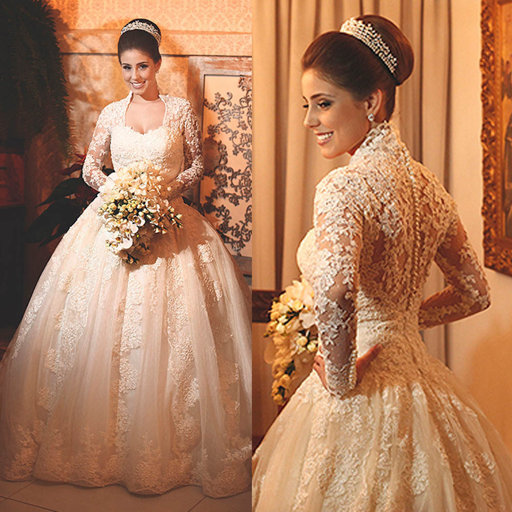2015 Real Vestido De Noiva Princess Lace Ball Gown Wedding Dress Long Sleeves Bridal Gowns W3665