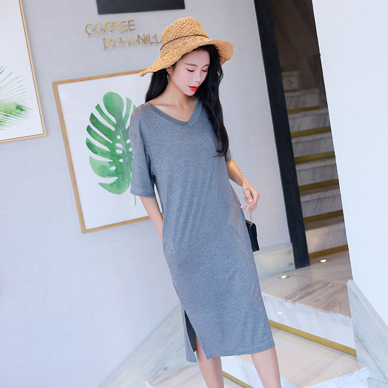Loose And Plus-sized Short Sleeve Modal V-neck Dress Summer Mid-length Nightgown Outer Wear Pajamas Tracksuit Women's