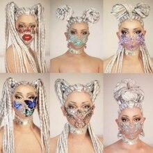 Women Crystal Long Hair Headwear Nightclub Party Headdress Dancer Stage Accessories Personality Rhinestone Self Styling Wig