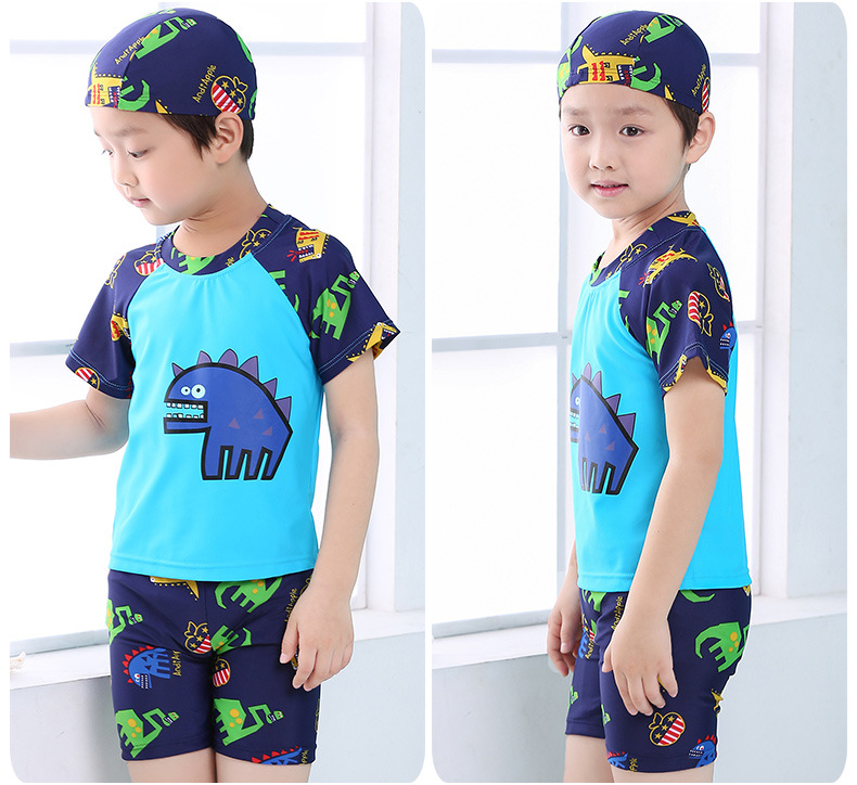 CHILDREN'S Swimsuit Set BOY'S Summer New Style Dinosaur Bathing Suit Swimming Trunks Swimming Cap Three-piece Set Boy Swimming T