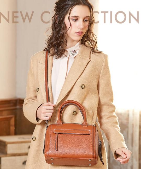 Exquisite Women Genuine Leather Boston Briefcase Ladies Elegant All-match Shoulder Commuter Bag Cowhide Office Bags Bolsa DF454