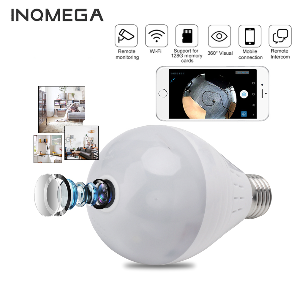 INQMEGA 960P Wifi Camera IP 360 Security Lamp Panoramic Bulb CCTV Video Surveillance Fisheye HD Night Vision Corridor Light Cam