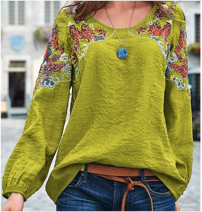 Africa Clothing Women Embroidered Ethnic O-neck Top Casual Long Sleeve T-shirt Traditional World Apparel Streetwear Loose Outfit