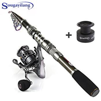 цена на Sougayilang Carbon Fiber Spinning Fishing Rod and 13+1BB Fishing Reel Combo Telescopic Carp Fishing Pole Spinning Reel Kit