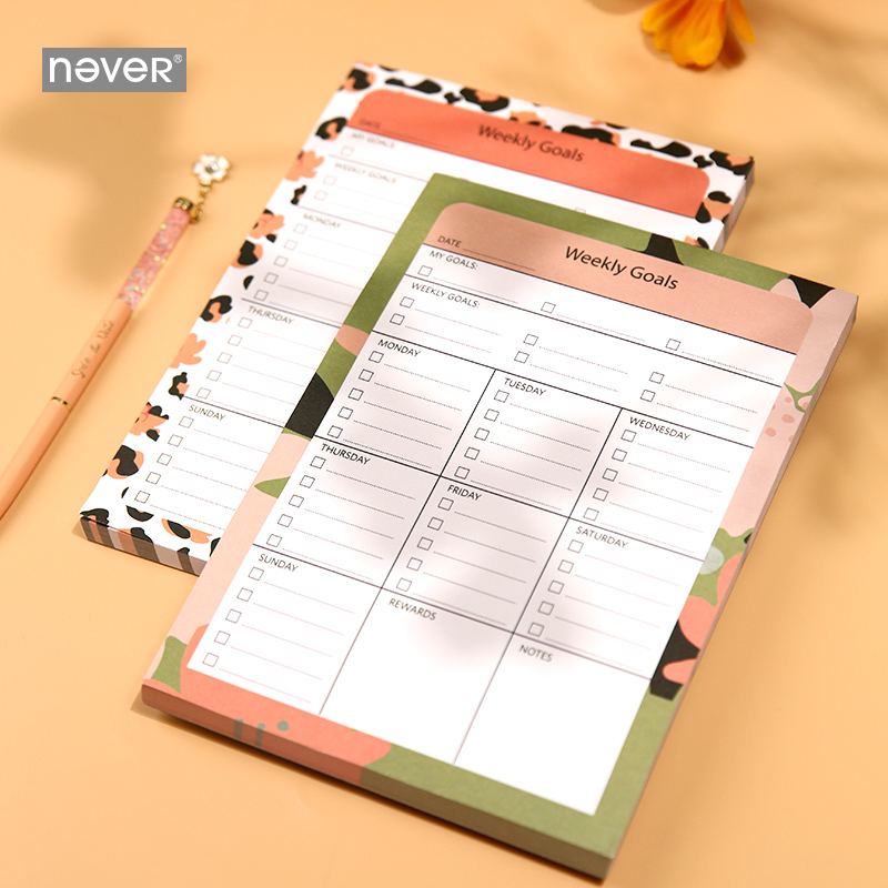 Never Leopard Print Weekly Planner Pad Weekly Goals Notes Paper Notes Book Week Plan Book Planner Accessories Study Planner A5