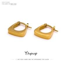 Yhpup 316L Stainless Steel Jewelry Fashion Square Geometric Hoop Earrings Charm Metal 18 K Women Earrings Bijoux Femme New