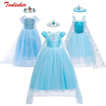 Nuevo Elsa vestidos infantiles para niñas princesa Elsa Anna disfraces niños ropa niños Cosplay vestidos de fiesta de la Reina de la nieve vestir ropa de niño varitas