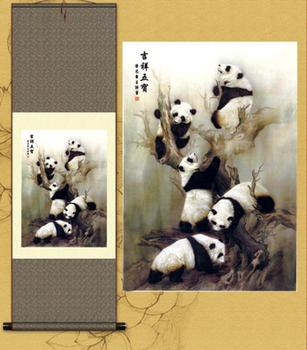 1pc  Traditional silk art Home Decoration Chinese Silk scroll painting  panda Home Office Decoration  S143 1