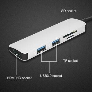 Image 3 - Usb cハブハブhdmi usb 3.0 sd/tfカードリーダーアダプターのmacブックプロアクセサリーUSB Cタイプcスプリッタ2ポートusbハブ