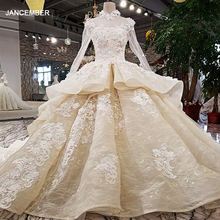LS21769 new ball grown crystal beaded bridal lace appliques keyhole back fancy peplum long sleeve high neck lace wedding dress