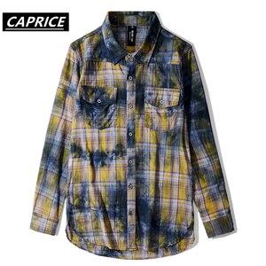 Image 1 - Tie Dyeing Plaid Mens Shirts 2019 Fashion Harajuku Streetwear Tops Hip Hop Casual Cotton Oversized Male Long Sleeve