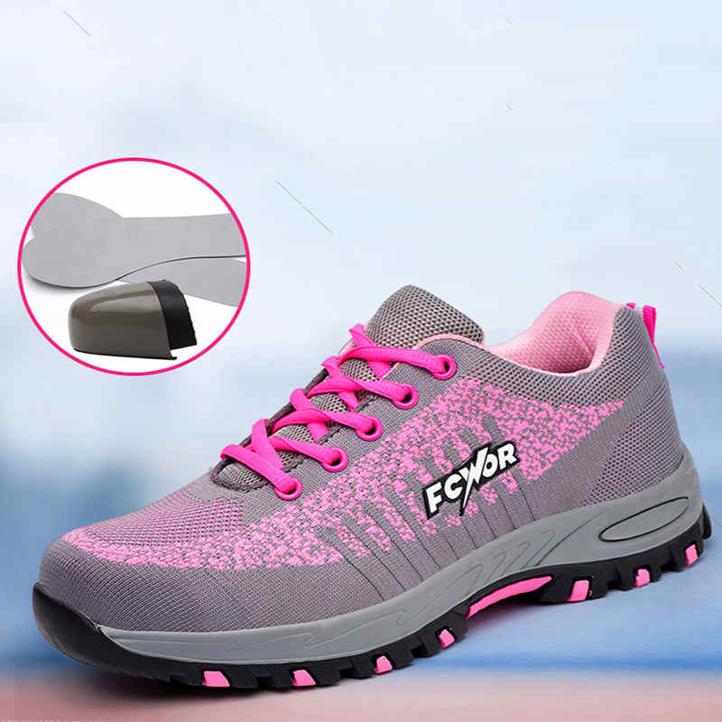 Women Steel Toe Safety Shoes Proof Work Boots Breathable Sneakers Comfortable Anti-smashing Anti-piercing Industrial Shoes Woman