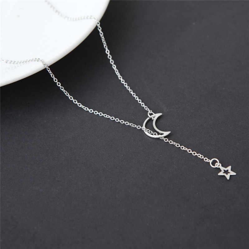 Silver Gold จี้สร้อยคอ Crescent Clavicle Chain สร้อยคอผู้หญิง Moon Star Femme Mujer Collares เครื่องประดับ S4