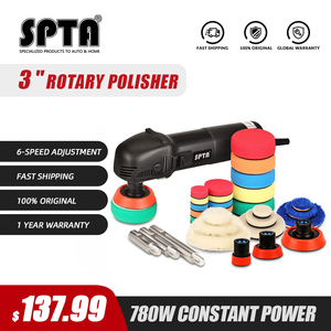 SPTA 3 дюйма 780 Вт мини машина для полировки автомобилей Ro Roary полировщик буферные полировочные колодки авто 27 шт. полировальные колодки удлиня...