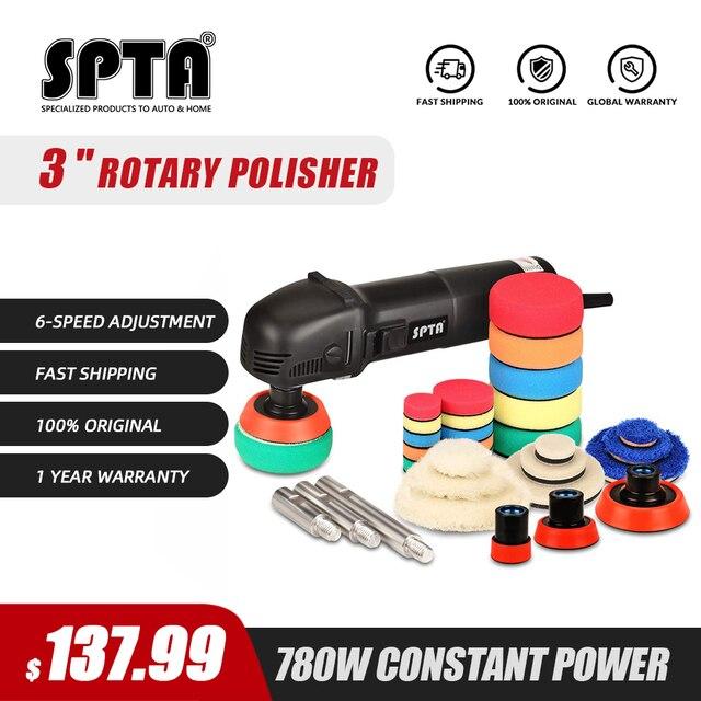 SPTA 3inch 780W Mini polerka do lakieru samochodowego Ro Roary bufor do polerowania samochodu stożki polerskie Auto 27 sztuk talerze polerskie wałek przedłużający