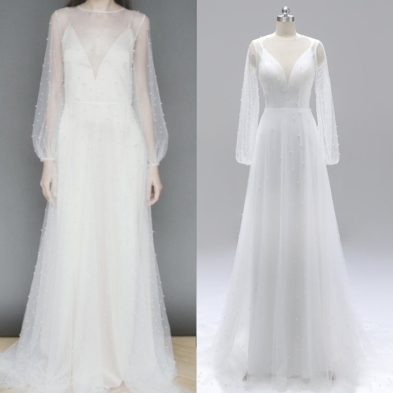 Beading Pearl Backless Long Sleeve Bridal Gown Wedding Dress Evening Dress Real Photo Factory Price