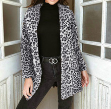 New Winter Coat Women Warm Plush Fashion Leopard Cardigan Womens Clothing Long Sleeve Faux Fur Veste Femme Casaco Pele