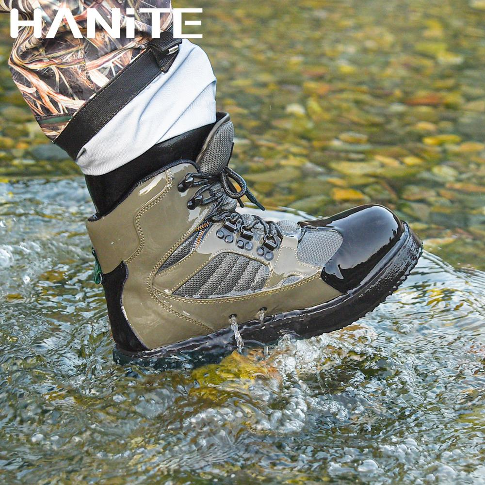 HANITE Breathable fishing wading shoes, wader shoes, felt sole wader boots, quick-drying fishing boots, hunting shoes for waders