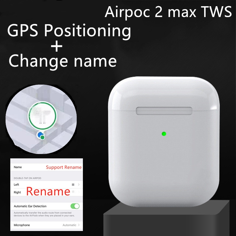 Airpoc 2 Max <font><b>TWS</b></font> Super Clone GPS Positioning +Name Change Sensor Bluetooth Earphone Headset pk i90000 pro <font><b>i99999</b></font> i200000 <font><b>tws</b></font> image