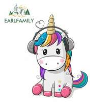 EARLFAMILY 13cm x 9.5cm for Cute Unicorn Listening To Music Car Stickers DIY Stickers Car Accessories Personality Creative Decal