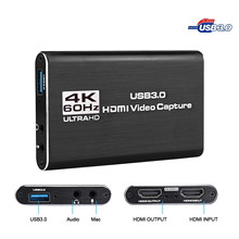 HDMI a USB 3,0 4K, tarjeta de captura de vídeo Dongle 1080P 60fps HD, grabador de vídeo para captura de juegos OBS, tarjeta de captura en vivo