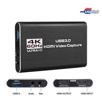 HDMI To USB 3.0 4K Video Capture Card Dongle 1080P 60fps HD Video Recorder Grabber For OBS Capturing Game Game Capture Card Live hd usb 3 0 capture hdmi video capture dongle 1080p 60fps capture box for windows for linux for os x system plug