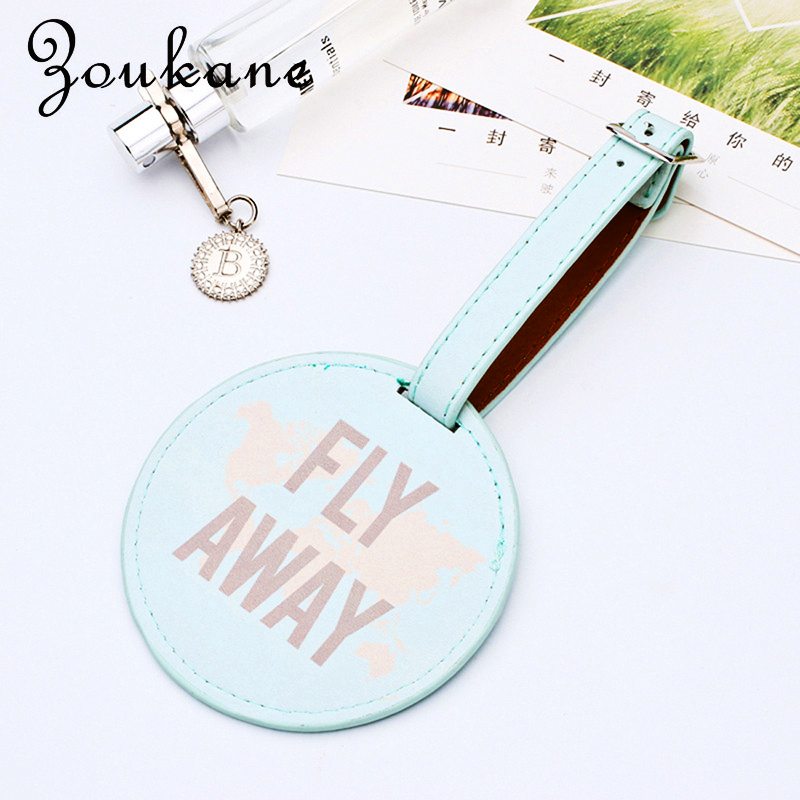 2019 New Leather Round Luggage Tag PU Suitcase Label Bag Pendant Handbag Travel Accessories Name ID Address Tags LT01C