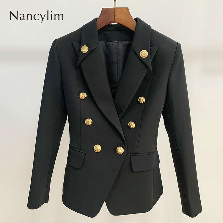 2019 Autumn/winter Woman Black Blazer New Suit Jacket Notched Classic Metal Buckle Double-button Small Suit Coat Lady