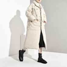 LANMREM 2020 Winter New Fashion Women Loose Plus Casual Knee Thicker Hooded Down Jacket TC213