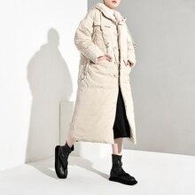 Lanmrem 2020 inverno nova moda feminina solto mais casual joelho mais grosso com capuz jaqueta tc213