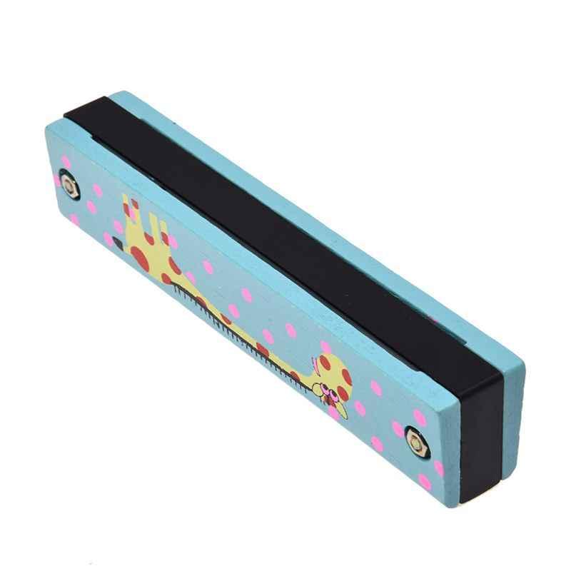 نمط الزرافة الخشبية سلسلة مزدوجة 32 حفرة هارمونيكا الطفل الأزرق
