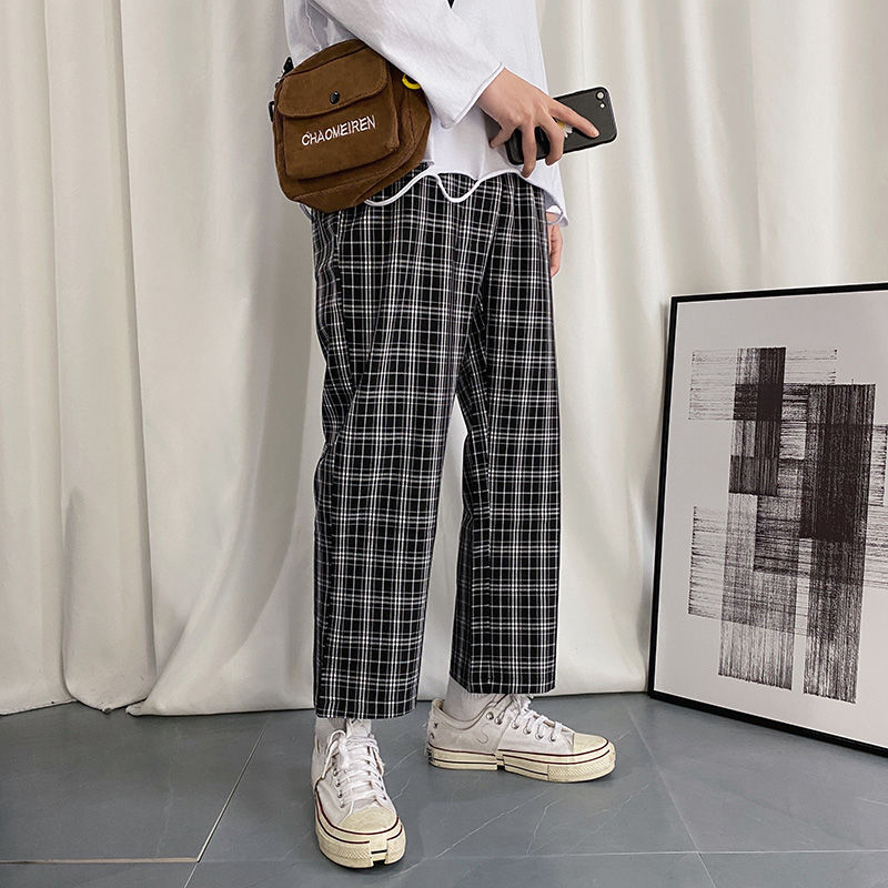 2020 Men's Fashion Loose Lattice Printing Casual Pants Bf Leisure Gym Sweatpants Baggy Cargo Military Style Trousers Size M-XL