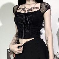 InsGoth bluzki Vintage Goth T-shirt damski sukienka bandażowa typu Bodycon koronkowe czarne t-shirty Gothic Streetwear seksowny Top damski swobodna siateczka Tee