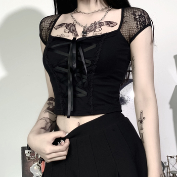 InsGoth Vintage Tops Goth T-shirt Women Bodycon Bandage Lace Black T-shirts Gothic Streetwear  Female Top Casual Mesh Tee