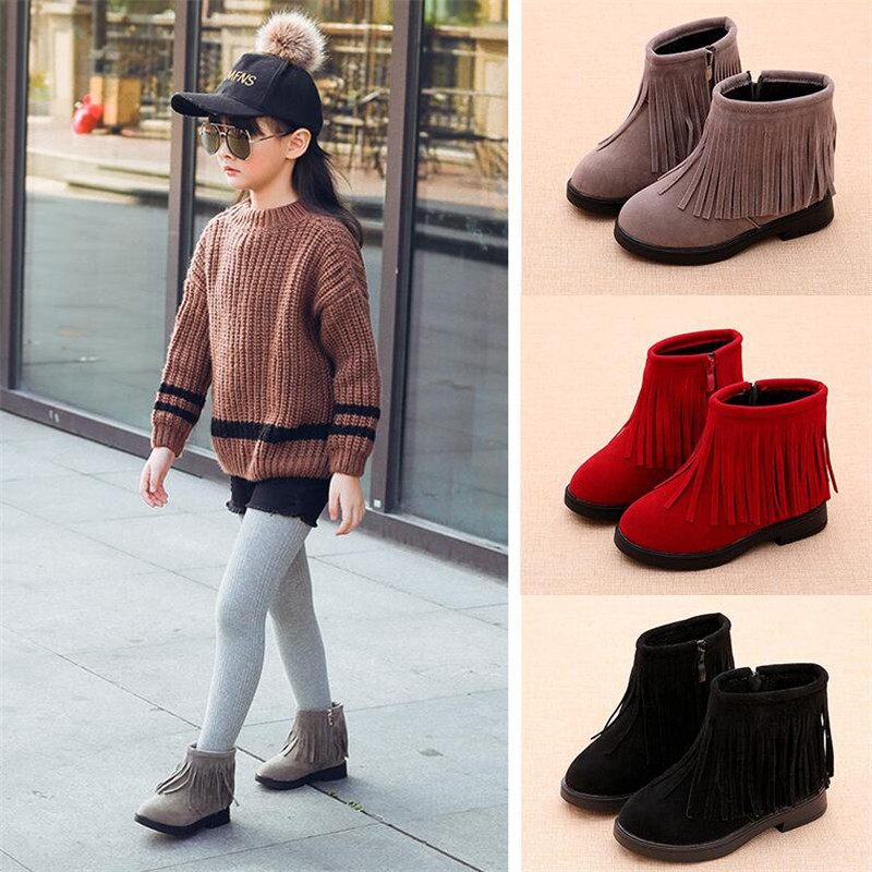 Girls Boots Autumn And Winter 2019 New Quality Girls Tassel Boots Children Martin Boots Girls Warm Snow Boots Cotton Shoes Zip