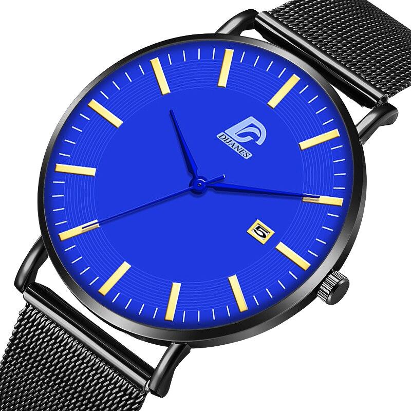 Reloj Hombre Fashion Mens Business Minimalist Watches for Man Calendar Ultra Thin Mesh Belt Quartz Watch relogio masculino