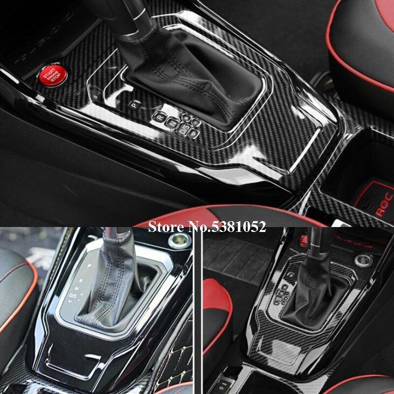 Car Sticker For Volkswagen VW T ROC T-ROC 2018 2019 Carbon Fiber Gear Shift Control Panel Cover Trim Interior Moldings