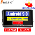 32882178177 - Eunavi 4G 64G Android 9 2 Din auto Radio estéreo GPS para VW Passat B6 CC Polo GOLF 5 6 Touran Jetta Tiguan Magotan asiento DSP NO DVD