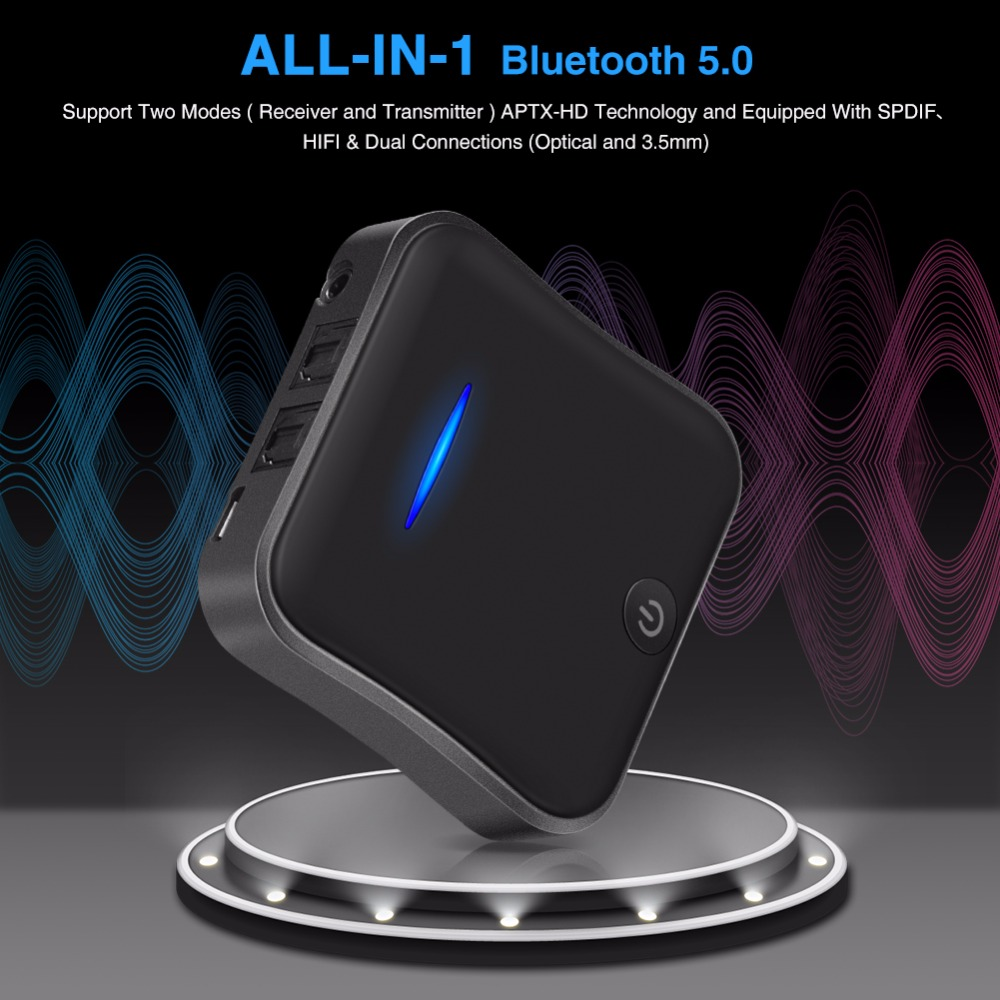 Transmetteur Bluetooth 5.0 adaptateur APTX HD 3.5mm/SPDIF/Toslink optique numérique pour haut-parleur récepteur Audio Bluetooth deux Modes