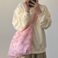 Bandolera Vintage plegable para mujer, bolso femenino de tela Jacquard con flor rosa, Bolso grande de gran capacidad, informal, para viaje