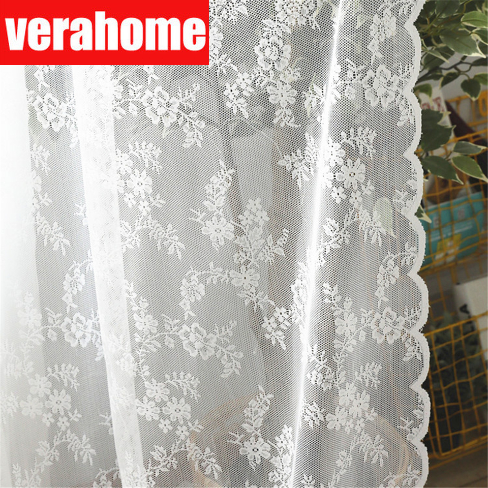 European White lace sheer curtains  for living room bedroom  window tulle  curtain drapes serape home decor