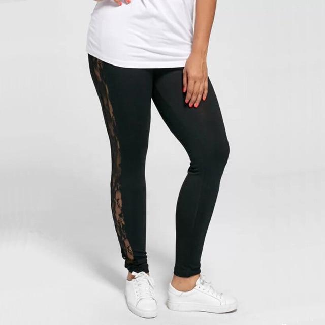 Plus Size L-3XL Sexy Women Lace Pants Black Insert Sheer Leggings Elastane Leggings 2