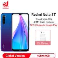 Versión Global Xiaomi Redmi Note 8T 8 T 4GB 64GB NFC Smartphone Snapdragon 665 Octa Core 48MP Quad cámara trasera 6,3 4000 mAh