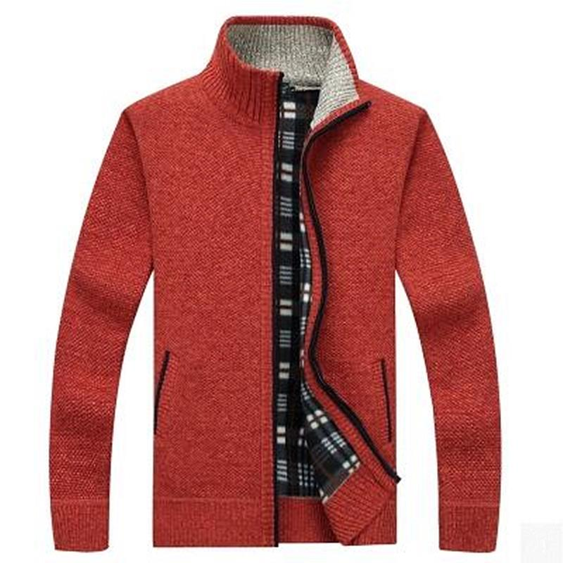 OLOEY Autumn Winter Casual Loose Stand Neck Wool Sweaters Coat Man Zipper Thick Knittwear Men Warm Cardigan Sweatercoat