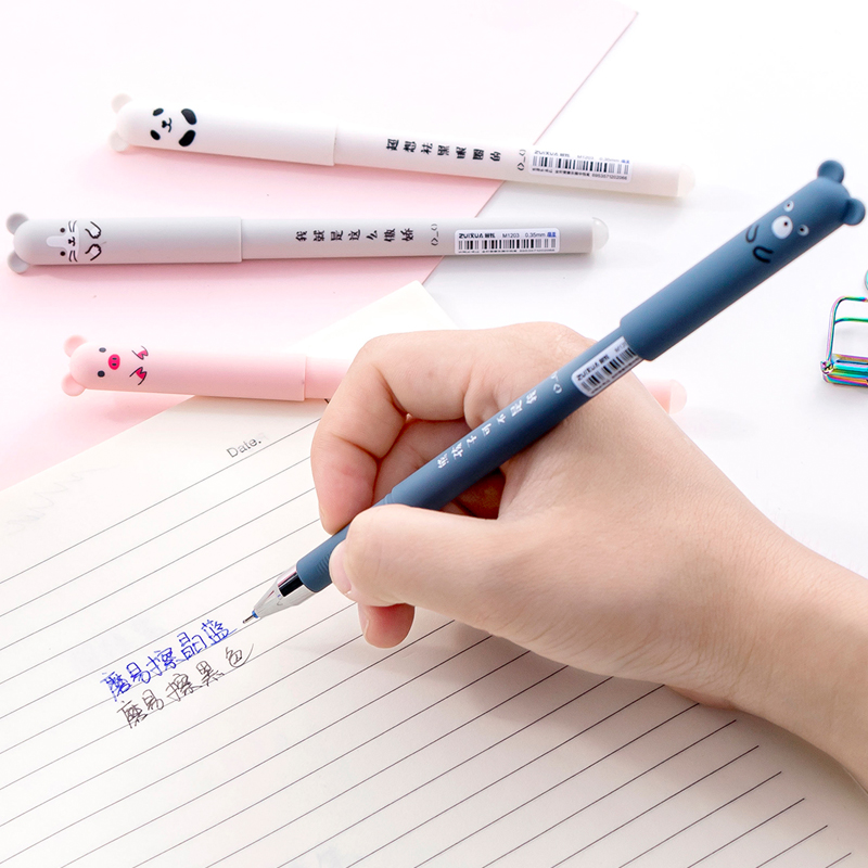 26Pcs Lot Animals Erasable Pen 0 35mm Cute Panda Cat Pens Washable Handle Gel Pen 0